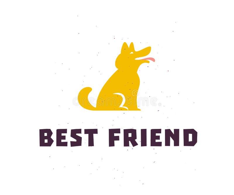 Vector vlak eenvoudig embleem met gelukkige die het pictogramtribune van het hondsilhouet op witte achtergrond wordt geïsoleerd royalty-vrije illustratie