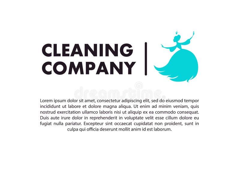 Vector vlak embleemontwerp voor het schoonmaken van bedrijf royalty-vrije illustratie