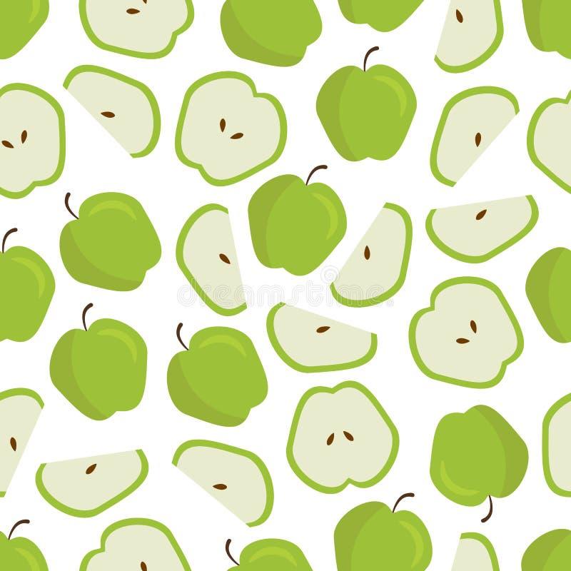 Vector Vlak Fruitpatroon van Willekeurig Groen Apple royalty-vrije illustratie