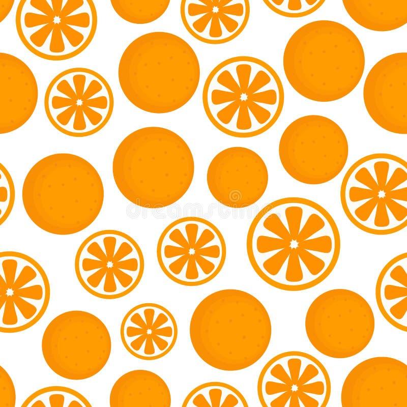 Vector Vlak Fruitpatroon van Willekeurige Sinaasappel vector illustratie