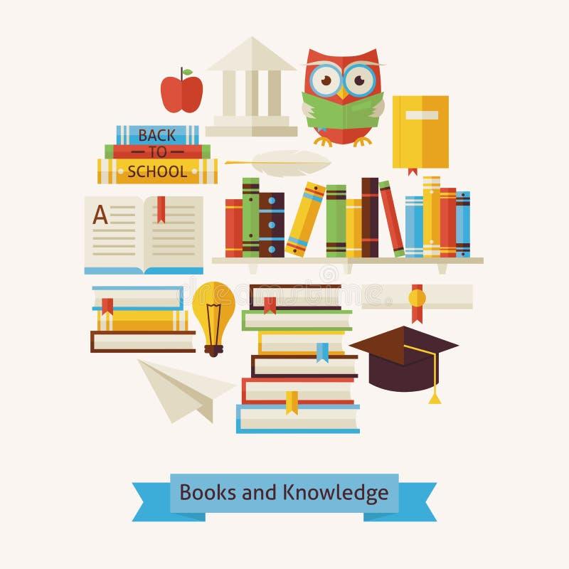Vector Vlak het Onderwijs en de Kennisobjecten van Stijlboeken Concept stock illustratie
