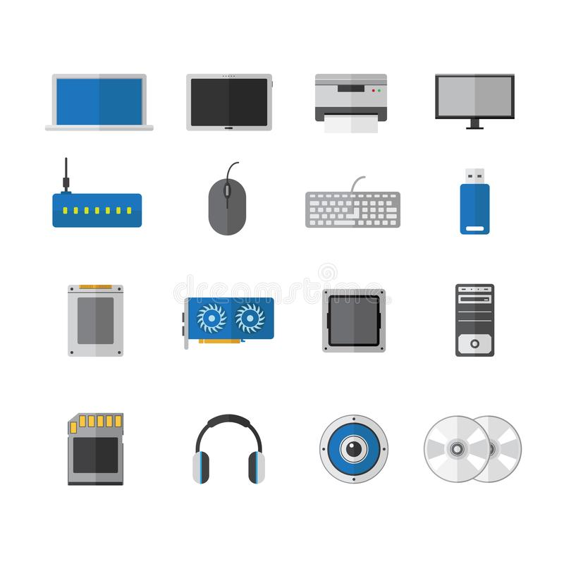 Vector vlak het pictogramontwerp van het computerapparaat, toebehorentechnologie royalty-vrije illustratie