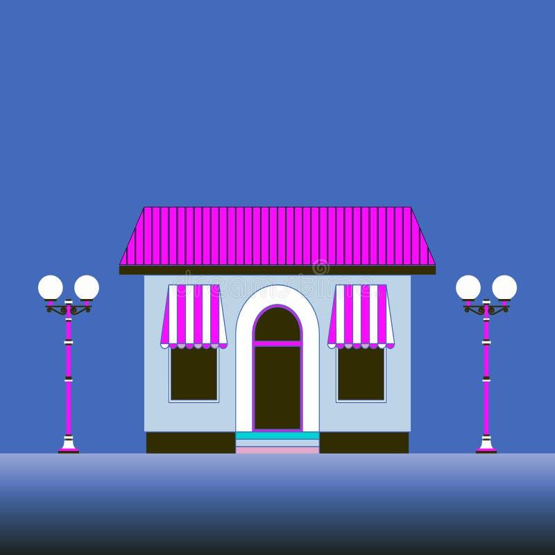 Vector vlak huis met winkel Lantaarns bij schemer vector illustratie