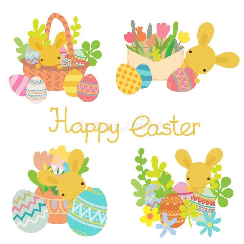 Vector vlak konijn met paaseieren, geplaatste bloemen stock illustratie