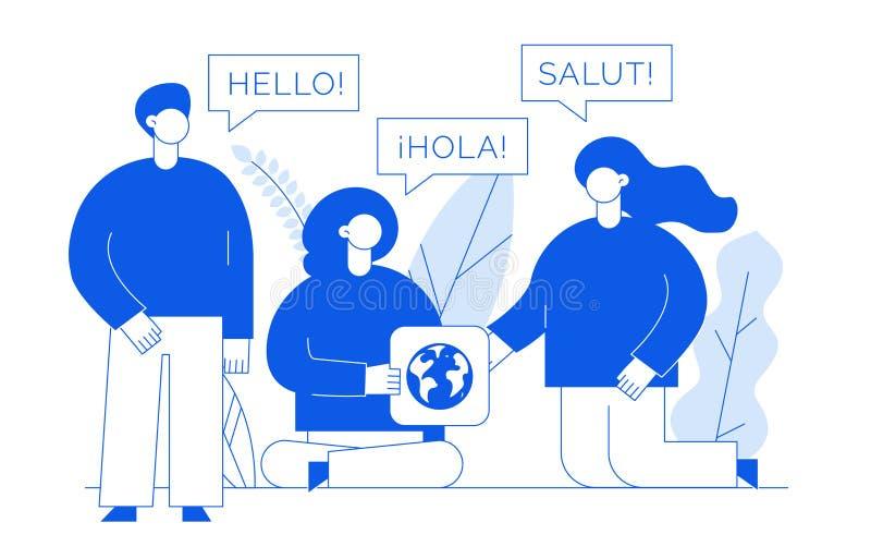 Vector vlak lijn vertaalontwerpconcept grote moderne mensen met woord Hello in het Engels, het Spaans en het Frans stock illustratie