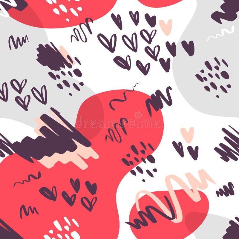Vector vlak naadloos patroon met abstracte artistieke hand getrokken geïsoleerde krabbelelementen - punten, kleurenvlekken, harte royalty-vrije illustratie