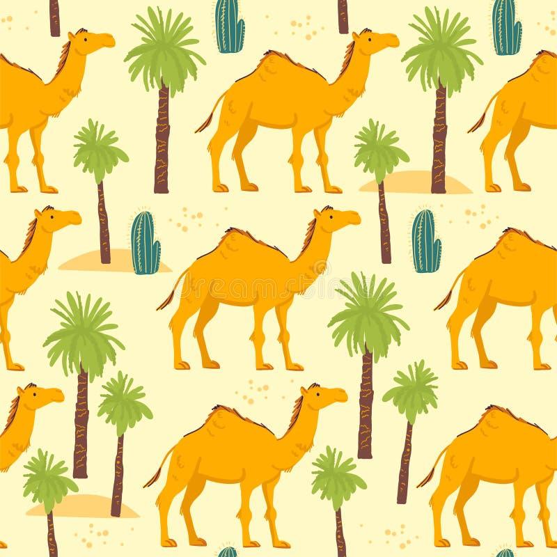 Vector vlak naadloos patroon met de hand getrokken die dieren, de cactus en de palmen van de woestijnkameel op gele achtergrond w vector illustratie