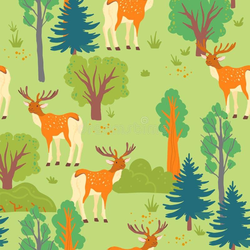 Vector vlak naadloos patroon met wild bos: bomen, struik en hertendier op groene achtergrond wordt geïsoleerd die royalty-vrije illustratie