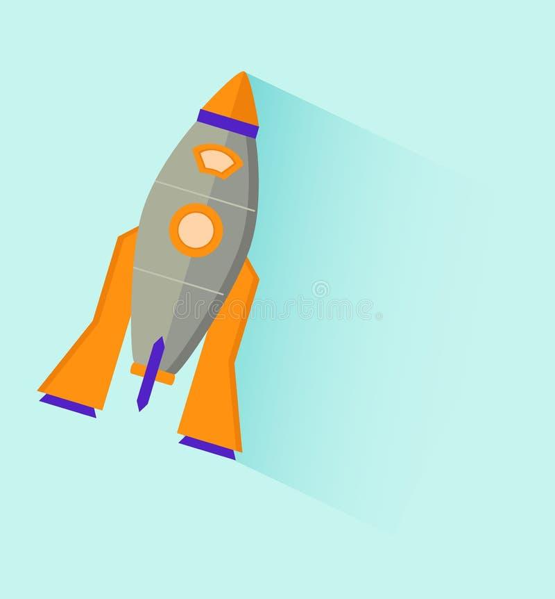 Vector vlak pictogramontwerp van ruimteraket in de lucht royalty-vrije illustratie