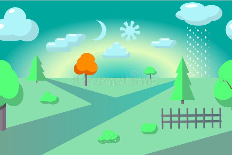 Vector vlak plattelandslandschap Abstracte landschapsillustratie royalty-vrije illustratie
