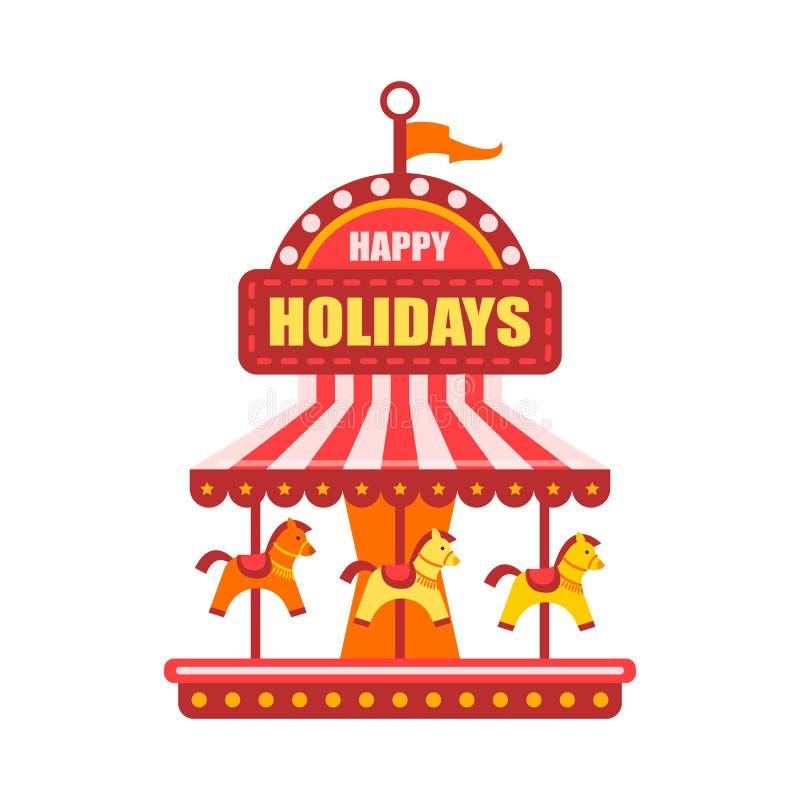 Vector vlak pretparkconcept Vrolijk ga rond, uitstekend vliegend het paardcarrousel gekleurd pictogram van Funfair Carnaval stock illustratie