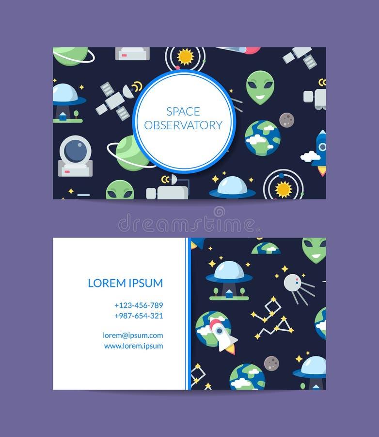 Vector vlak ruimteadreskaartje voor waarnemingscentrumillustratie stock illustratie