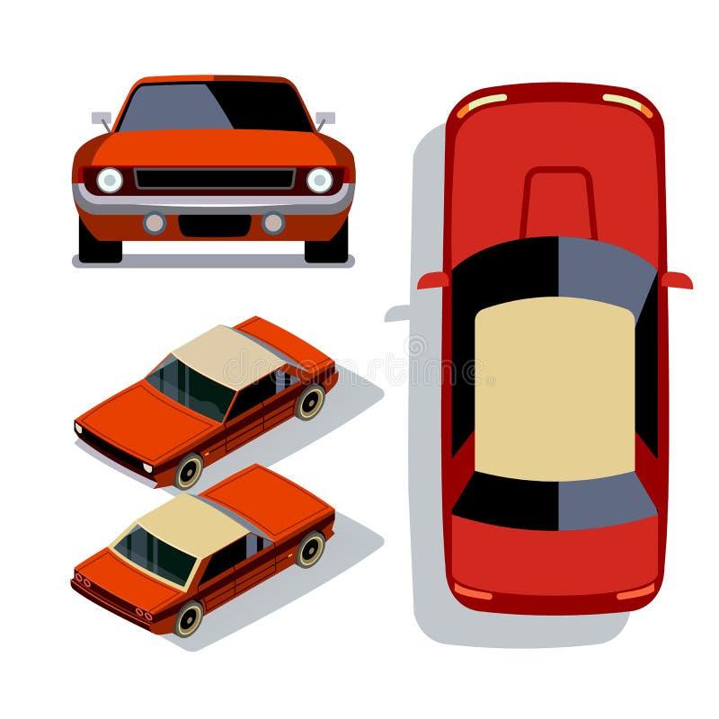 Vector vlak-stijlauto's in verschillende meningen Rode Spierauto stock illustratie
