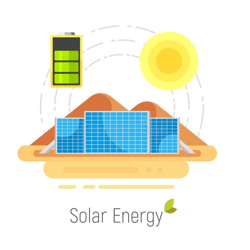 Vector vlak stijlconcept voor ecologie zonne-energie royalty-vrije illustratie