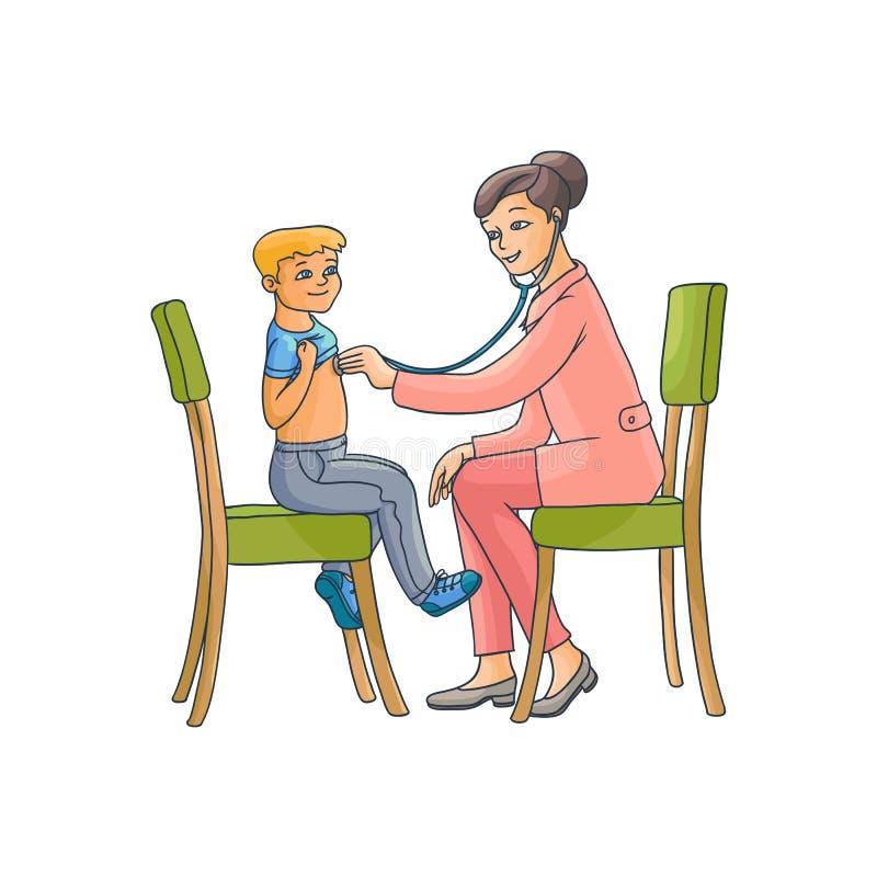 Vector vlak vrouwelijk arts en tiener jongensjong geitje royalty-vrije illustratie