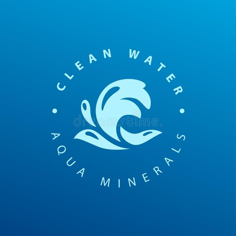 Vector vlak zuiver die water logotype op donkerblauwe achtergrond wordt geïsoleerd vector illustratie