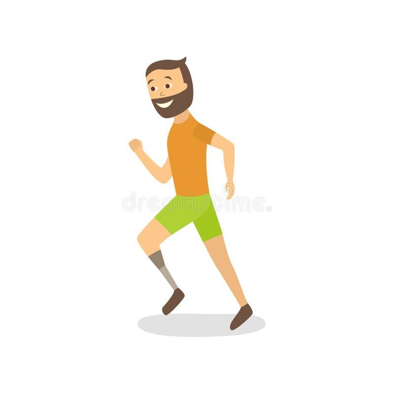 Vector vlakke atleet die met voetprothese lopen vector illustratie