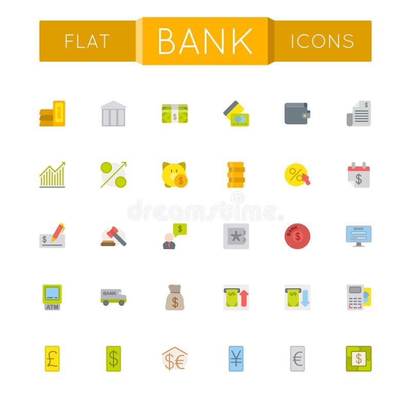 Vector Vlakke Bankpictogrammen vector illustratie
