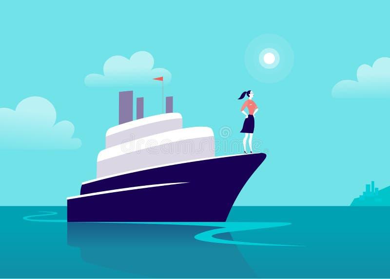 Vector vlakke bedrijfsillustratie met bedrijfsdame die op schip door oceaan naar stad op blauwe betrokken hemel varen stock illustratie