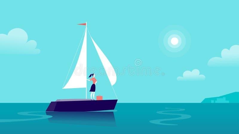 Vector vlakke bedrijfsillustratie met bedrijfsdame die op schip door oceaan naar stad op blauwe betrokken hemel varen vector illustratie