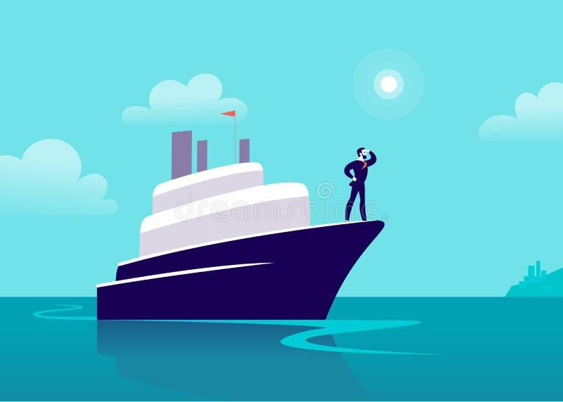 Vector vlakke bedrijfsillustratie met zakenman het varen op schip door oceaan naar stad op blauwe betrokken hemel stock illustratie