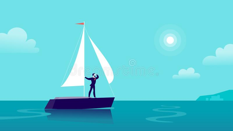 Vector vlakke bedrijfsillustratie met zakenman het varen op schip door oceaan naar stad op blauwe betrokken hemel vector illustratie