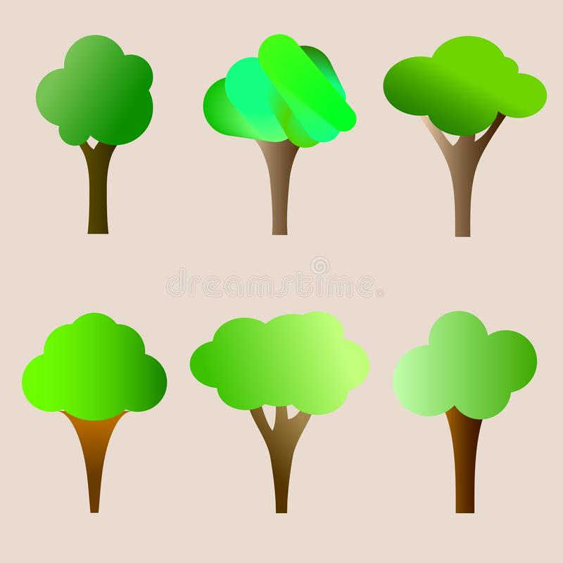 Vector vlakke bomen met een groene kroon Eenvoudige geïsoleerde boompictogrammen op beige achtergrond stock illustratie