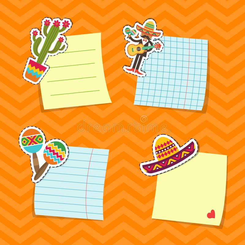 Vector vlakke de attributenstickers van Mexico geplaatst illustratie vector illustratie