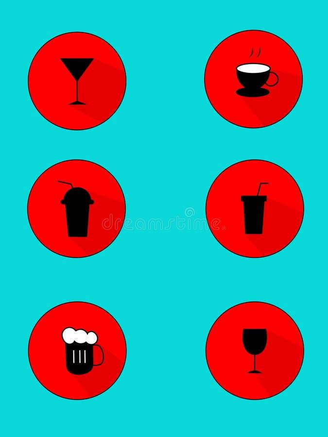 Vector vlakke de drankenpictogrammen van de ontwerpdrank geplaatst illustratie royalty-vrije illustratie