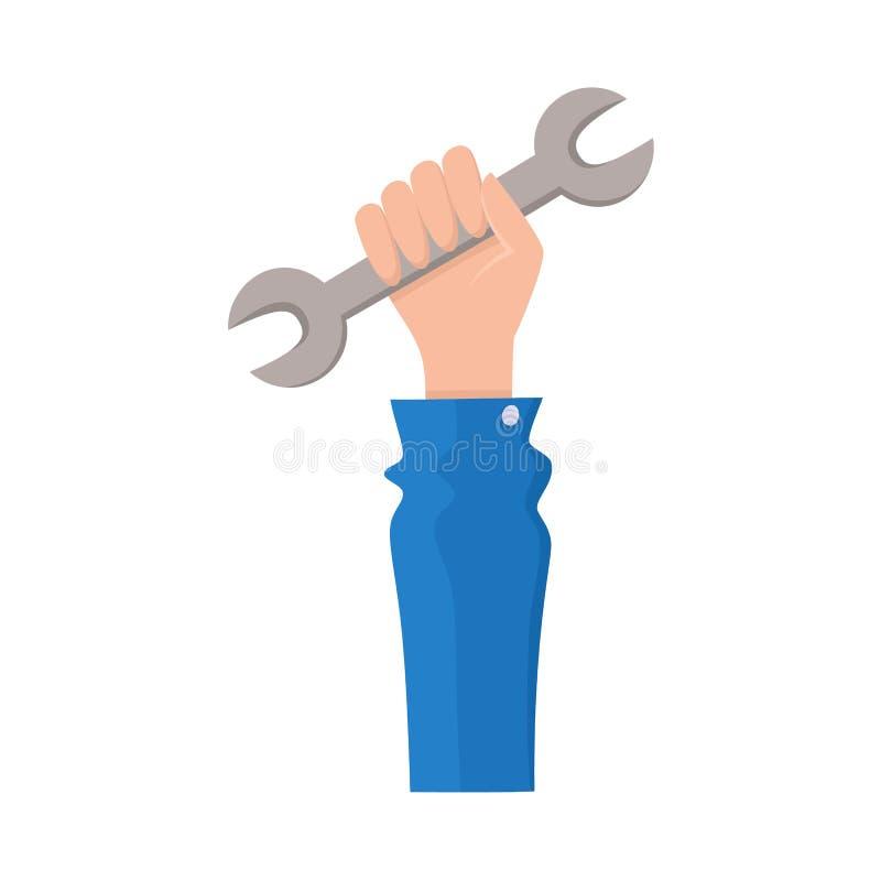 Vector vlakke de holdingsmoersleutel van de mensenhand stock illustratie