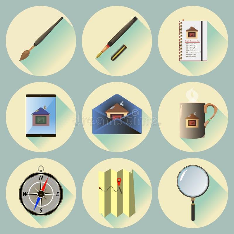 Vector Vlakke die pictogrammen voor Web en Mobiele Toepassingen worden geplaatst stock foto's