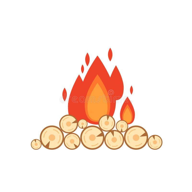 Vector vlakke die stijlillustratie van vuur op witte achtergrond wordt geïsoleerd De vlam en het hout van het pictogramembleem vo stock illustratie