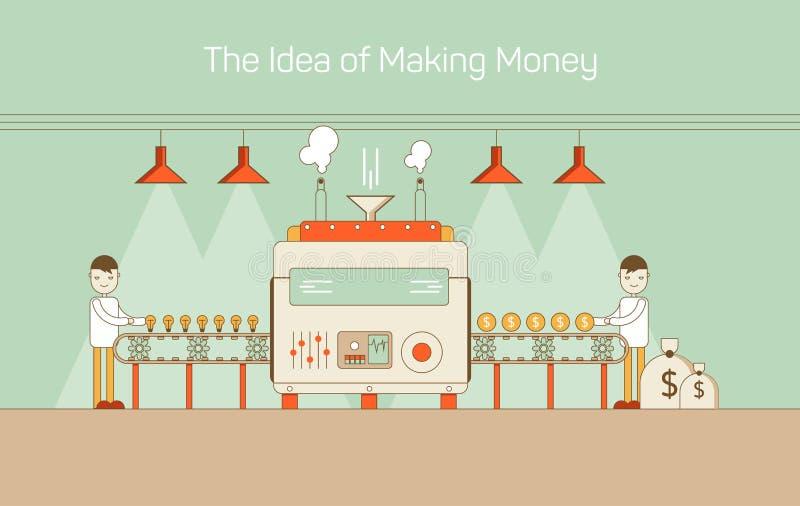 Vector vlakke dunne lijnillustratie van transportband met machinemechanisme die ideeën omzetten in geld Benadrukt met royalty-vrije illustratie
