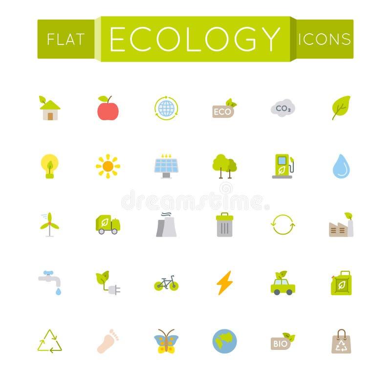 Vector Vlakke Ecologiepictogrammen royalty-vrije illustratie