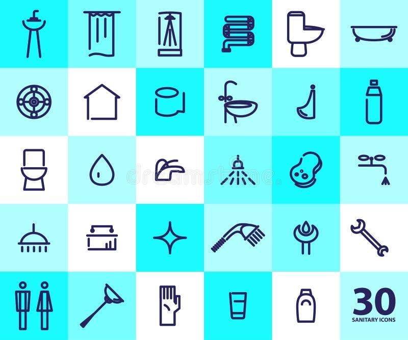 Vector vlakke eenvoudige illustratie van sanitaire pictogrammen royalty-vrije illustratie