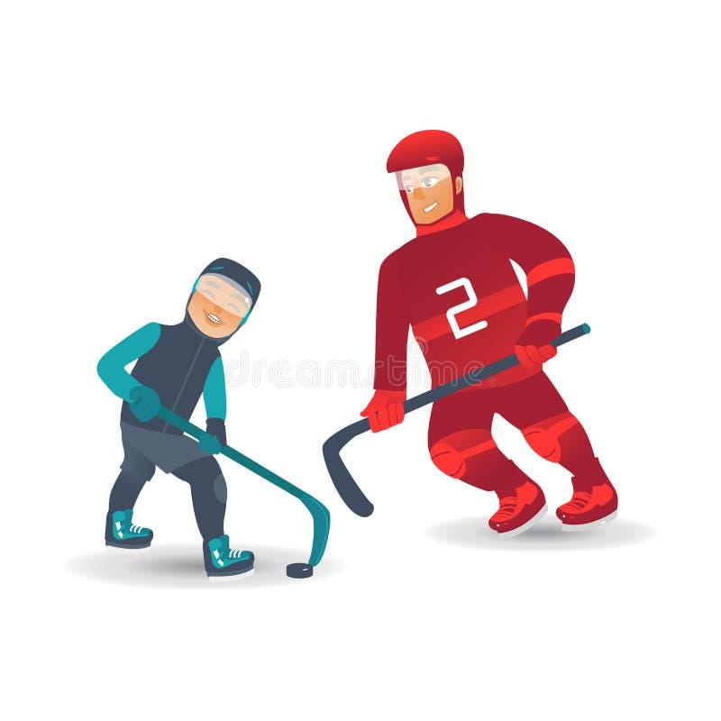 Vector vlakke geïsoleerde de jongensmens van de ijshockeyspeler royalty-vrije illustratie