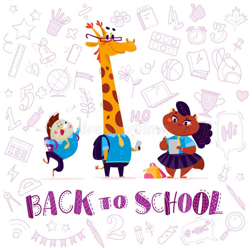 Vector vlakke gelukkige grappige dierlijke studenteninzameling - egel, giraf, damekat vector illustratie