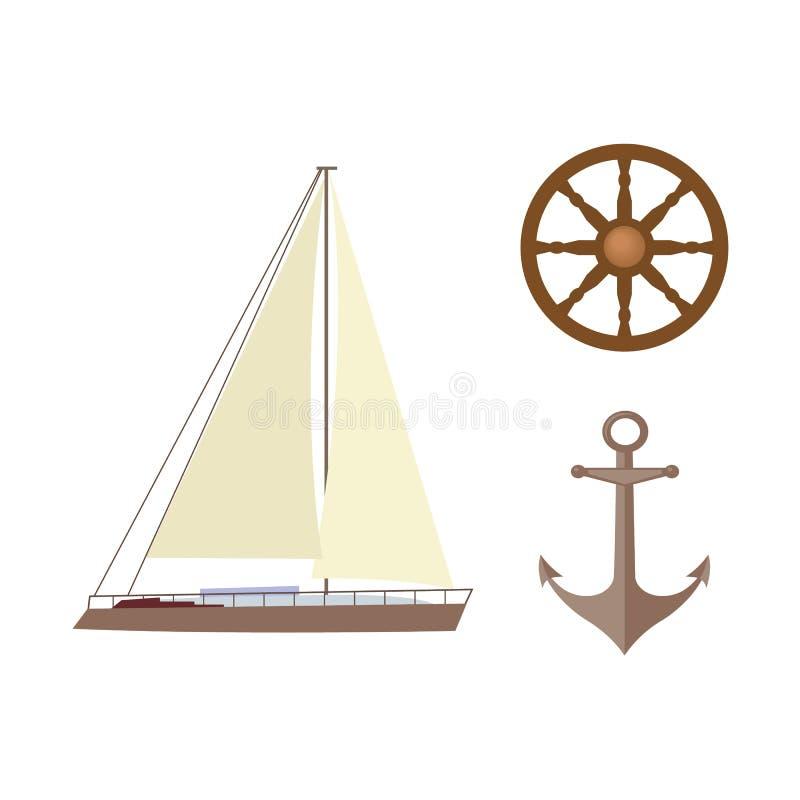 Vector vlakke geplaatste beeldverhaal zeevaart, mariene symbolen royalty-vrije illustratie