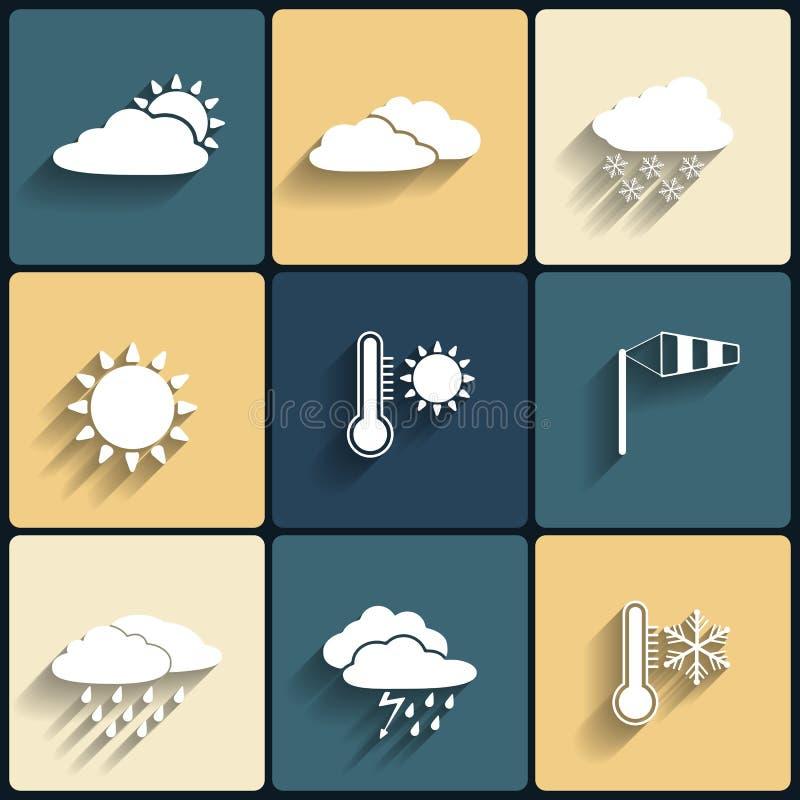 Vector vlakke geplaatste het weerpictogrammen van de ontwerpstijl royalty-vrije illustratie