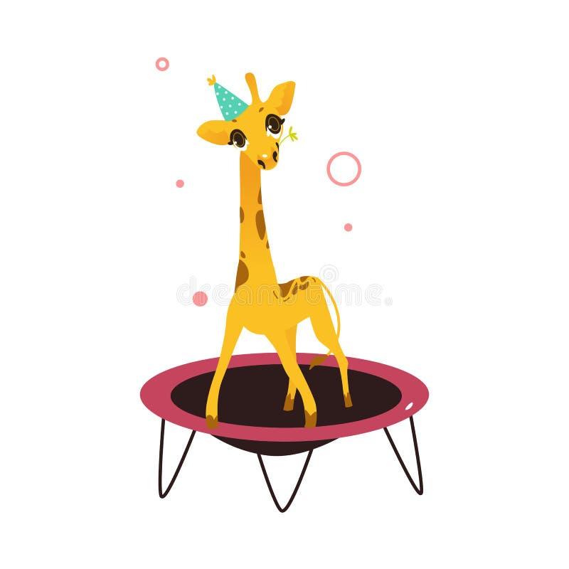 Vector vlakke giraf die op trampoline springen royalty-vrije illustratie