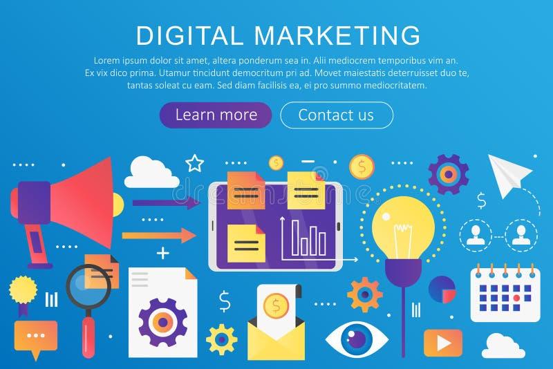 Vector in vlakke gradiëntkleur digitale marketing, SEO, sociaal netwerk en media van het communicatie de banner conceptenmalplaat royalty-vrije illustratie