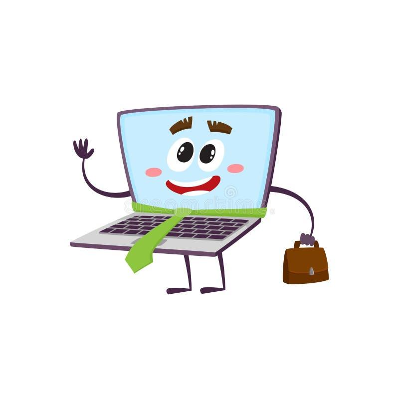 Vector vlakke grappige laptop karakterzakenman stock illustratie