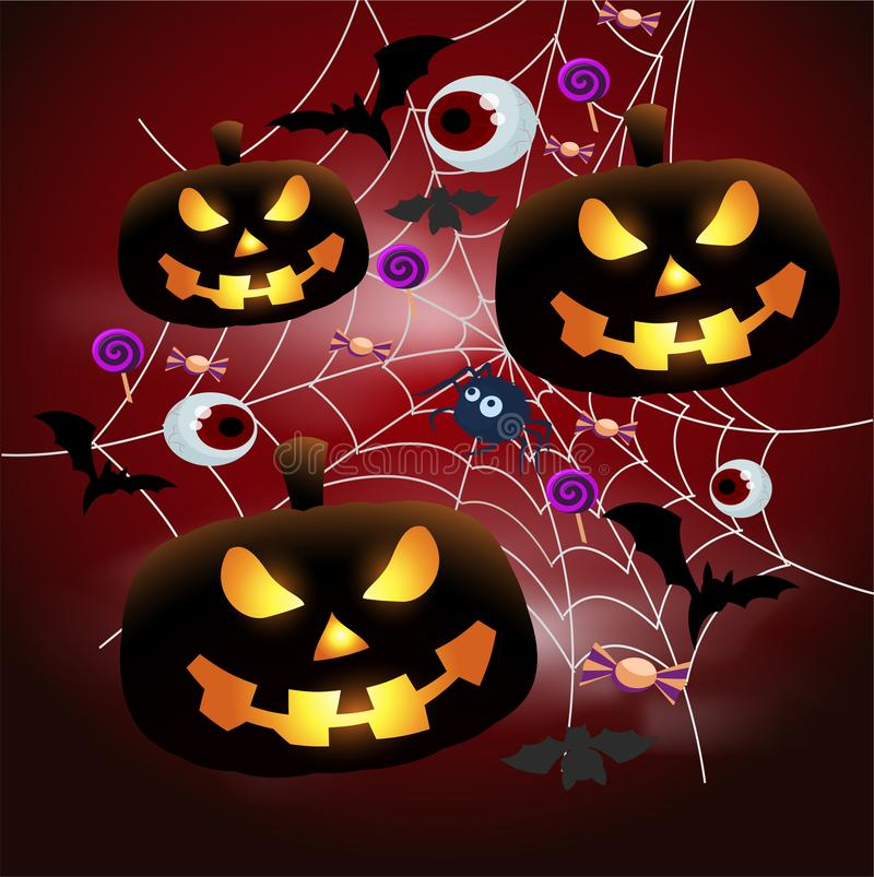 Vector vlakke Halloween-affiche - lichtgevende pompoen Jack in het Web, met knuppels, suikergoed Enge Halloween-partij stock illustratie