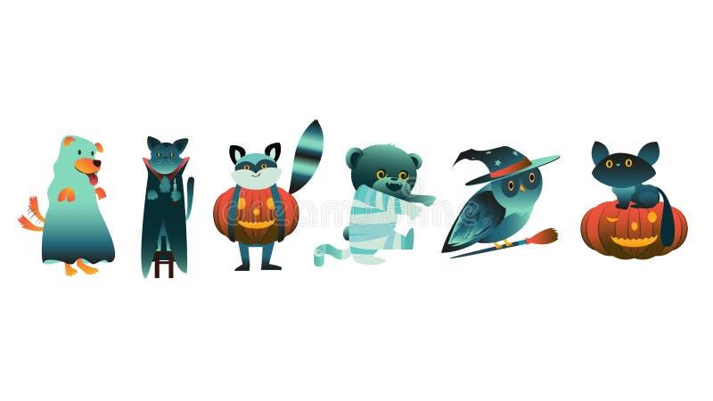 Vector vlakke Halloween-dieren in griezelige kostuums vector illustratie
