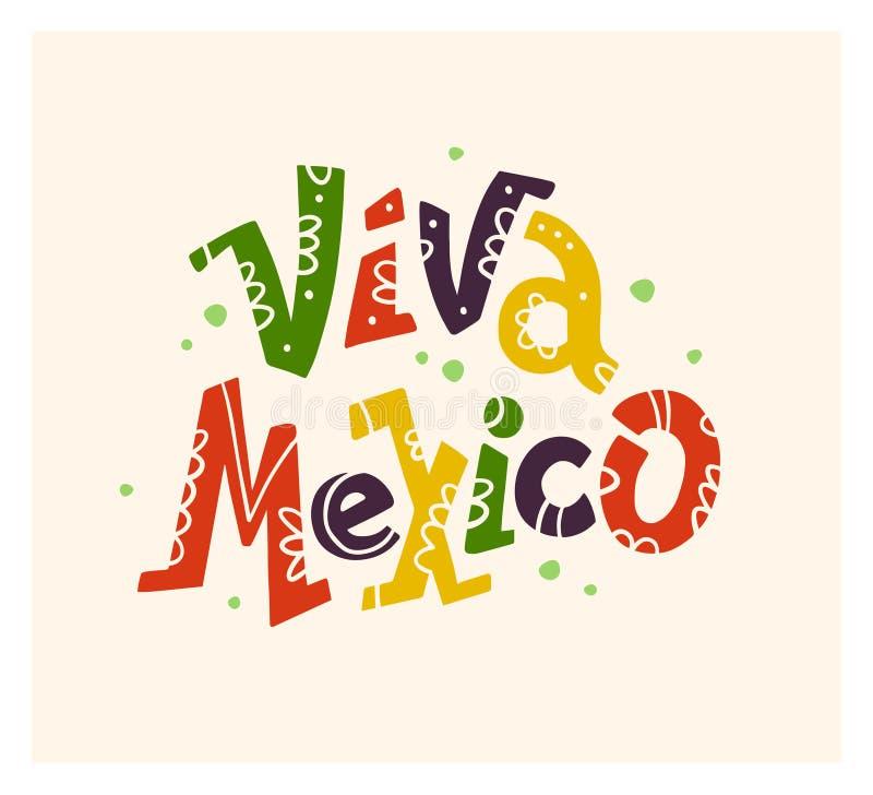 Vector vlakke hand getrokken illustratie met het vlakke Viva Mexico-van letters voorzien geïsoleerd op witte achtergrond stock illustratie
