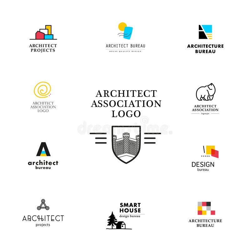 Vector vlakke het embleeminzameling van het architectuurbedrijf stock illustratie