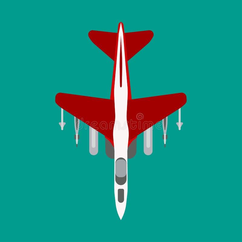 Vector vlakke het pictogram hoogste mening van het vechtersvliegtuig De bomvervoer van de aanvals straalluchtvaart Grafische de k royalty-vrije illustratie
