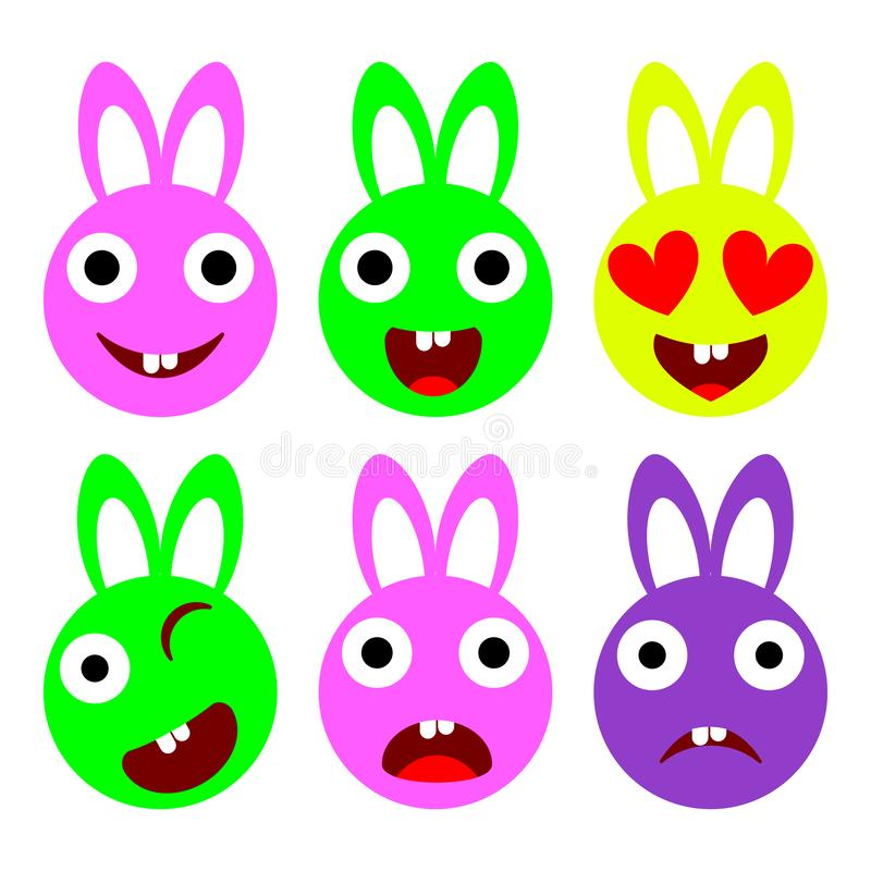 Vector vlakke het pictogramreeks van konijntjesemoties royalty-vrije illustratie