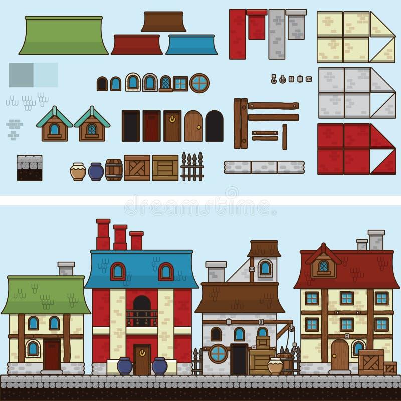 Vector vlakke illustratie en SPRITE voor spel Oude huizen vector illustratie