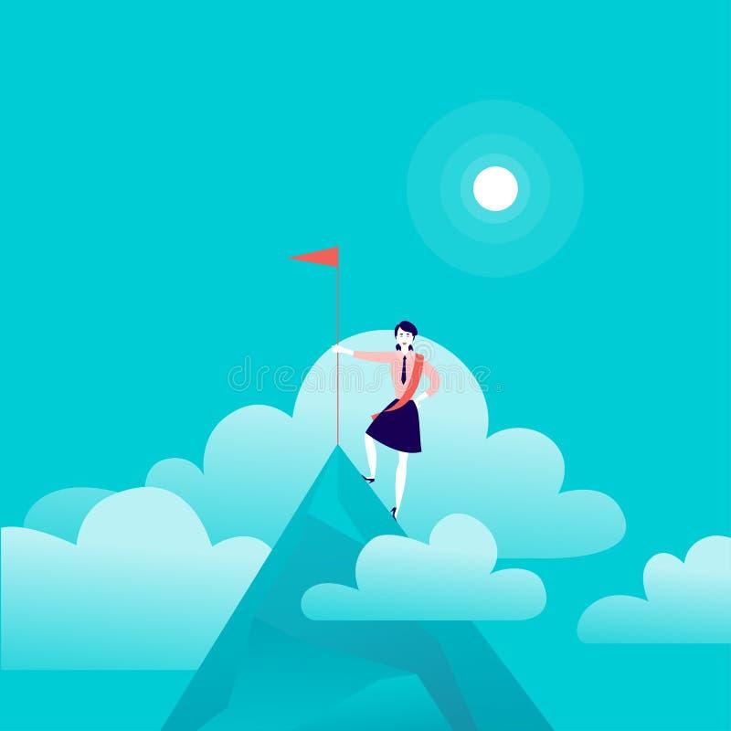 Vector vlakke illustratie met bedrijfsdame die zich op bergpiek bevinden van holdingsvlag op blauwe betrokken hemelachtergrond royalty-vrije illustratie